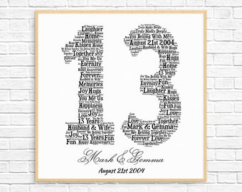 PERSONALIZED 13TH ANNIVERSARY Gift ~ Word Art ~ Printable Art ~ Unique Anniversary gift ~ 13 Year Wedding Anniversary Gift ~ Unique Gift