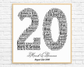 PERSONALIZED 20TH ANNIVERSARY Gift ~ Word Art ~ Printable Art ~ Unique Anniversary gift ~ 20 Year Wedding Anniversary Gift ~ Unique Gift
