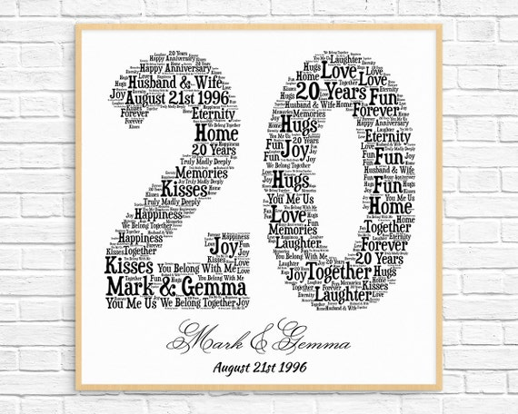 20th Wedding Anniversary Word Print