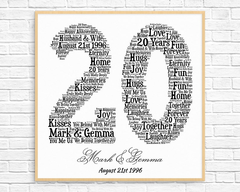 Personalized 20th Anniversary Gift Word Art Printable Art Etsy
