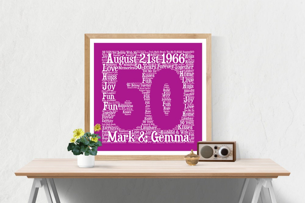Unusual 50th Wedding Anniversary Gifts: PERSONALIZED 50TH ANNIVERSARY Gift Word Art Printable Art