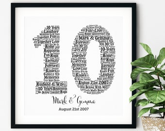 PERSONALIZED 10TH ANNIVERSARY Gift ~ Word Art ~ Printable Art ~ Unique Anniversary gift ~ 10 Year Wedding Anniversary Gift ~ Unique Gift