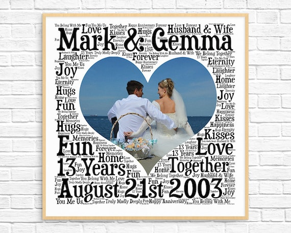 Gift For 13th Wedding Anniversary: PERSONALIZED 13TH ANNIVERSARY Gift Word Art Printable Art