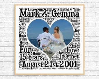PERSONALIZED 15TH ANNIVERSARY Gift ~ Word Art ~ Printable Art ~ Unique Anniversary gift ~ 15 Year Wedding Anniversary Gift ~ Unique Gift