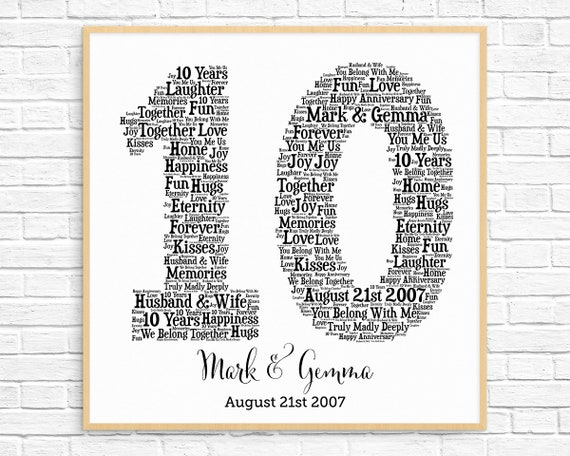 Personalized 10th Anniversary Gift Word Art Printable Art Etsy