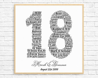 PERSONALIZED 18TH ANNIVERSARY Gift ~ Word Art ~ Printable Art ~ Unique Anniversary gift ~ 18 Year Wedding Anniversary Gift ~ Unique Gift