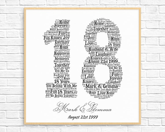 Personalized 18th Anniversary Gift Word Art Printable Art Etsy