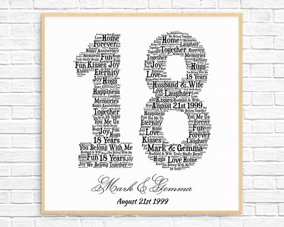 PERSONALIZED 18TH ANNIVERSARY Gift Word Art Printable Art | Etsy