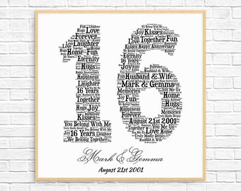 PERSONALIZED 16TH ANNIVERSARY Gift ~ Word Art ~ Printable Art ~ Unique Anniversary gift ~ 16 Year Wedding Anniversary Gift ~ Unique Gift