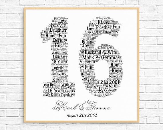 Personalized 16th Anniversary Gift Word Art Printable Art Etsy