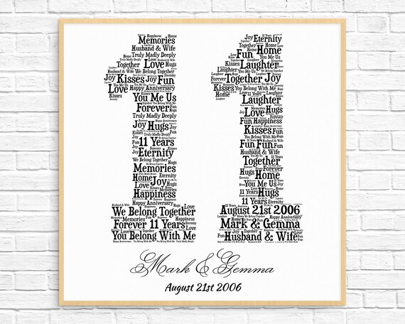 Personalized 11th Anniversary Gift Word Art Printable Art Etsy