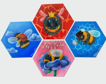 Bee Squad Hexagonal Oil Paintings with Embroidery