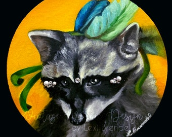 Masquerade Racoon Oil Painting Bedazzle