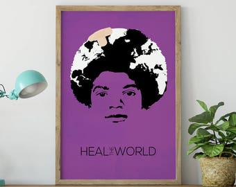 Michael Jackson Poster Art Print - Heal the World - Pop Art - Michael Jackson Art - Michael Jackson Gift - MJ Poster - King of Pop