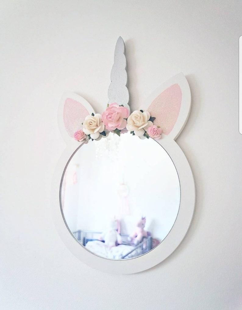 Unicorn Wall Mirror Unicorn Bedroom Floral Bedroom Flower Etsy