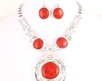 Tribal Stunning Red Gemstone Necklace