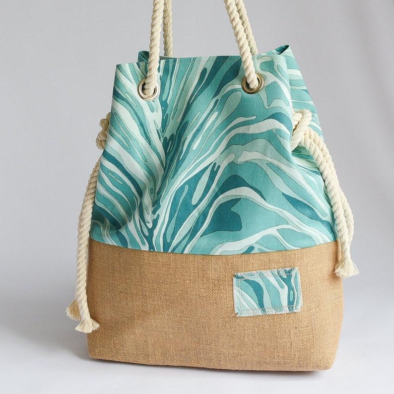 Large Handmade Hobo Bag Beach Tote Beach Bag Blue Ocean Cotton and Hessian Base Beach Tote
