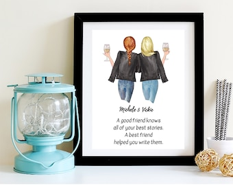 Best Friend Birthday Gift Helps You Write Your Story Prints Unframed Wall Art BFF Mothers Day Galentines