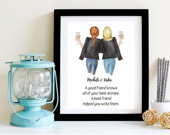 Best Friend Birthday Gift Helps You Write Your Story Wall Art BFF Personalized Digital Prints No Physical Product