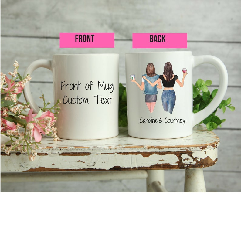 11 oz Hairstyles Custom Best Friend Coffee Mug for Women Friend/'s Birthday Gift, BFF Personalized Cup with Names Customized Text for Besties Long Distance Friendship Soul Sisters Jackets