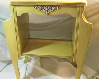 Vintage Yellow Hand Painted Upcycled SIde Table, Lamp Table