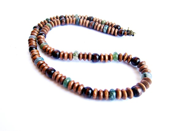Mens Wooden Necklace Wood Stone Beaded Necklace Ethnic Jewelry Gift For Him