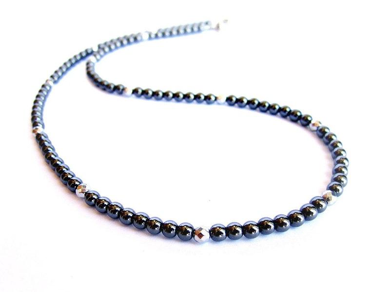 477e1f42fb0 Collier perles hématite pour homme argent noir tour de cou