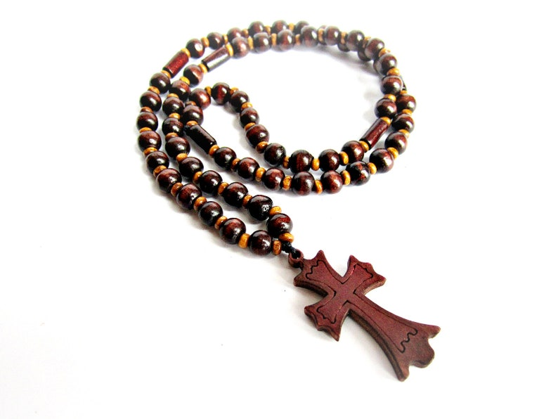 Cross Necklace For Men Brown Wood Bead Religious Jewelry Gift For Him