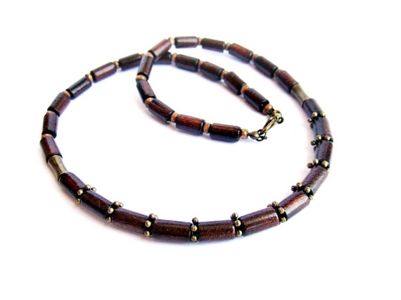 Mens Brown Wood Necklace Mens Wooden Necklace Mens Wood Beaded Necklace Wooden Choker Brown Wood Bronze Necklace Italian Jewelry