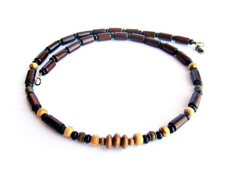 11f28a8a1001 Collar madera hombre, cuentas madera, beige marrón, gargantilla perlas,  joyas étnicas, regalo para él