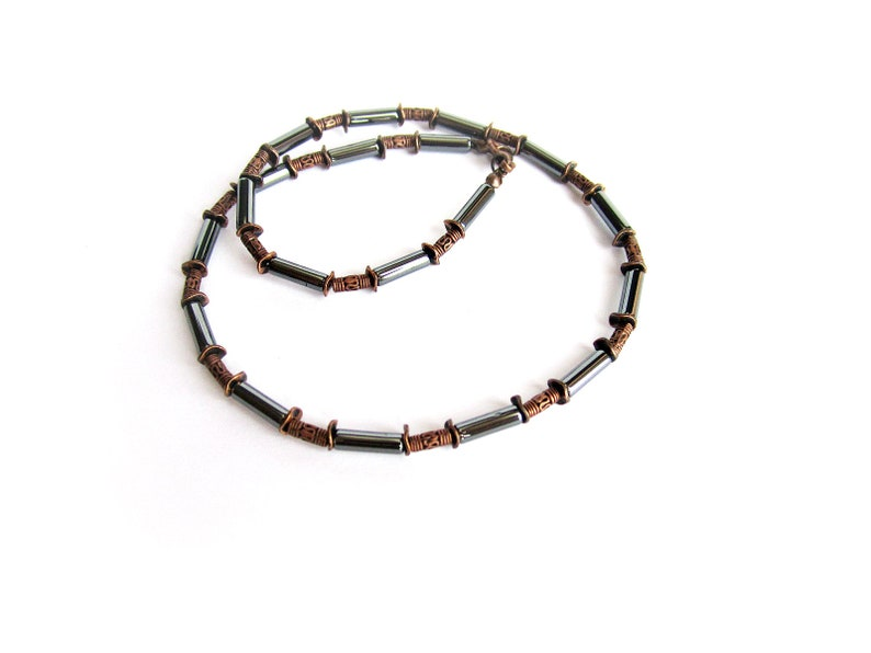 classic jewelry Black hematite copper necklace for men gift for him stone bead choker