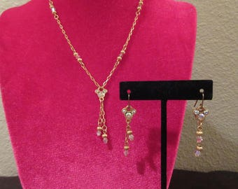 Disney brand understated vintage Mickey Mouse gold tone and crystal necklace and pierced earring set. Lariat style necklace -dangle earrings