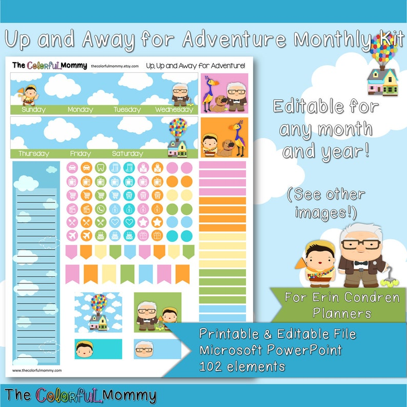 4537c78ded75f Up and Away for Adventure EDITABLE Monthly Planner Sticker Kit | use with  Erin Condren Planner | Fairy tales | Balloons | PowerPoint | Up