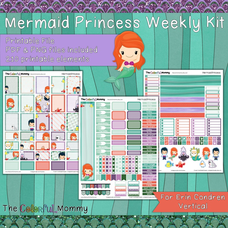 97594b0dae218 Mermaid Princess Weekly Planner Sticker Kit | for use with Erin Condren  Vertical Planner | Princess | Fairy tales | PDF | Little Mermaid