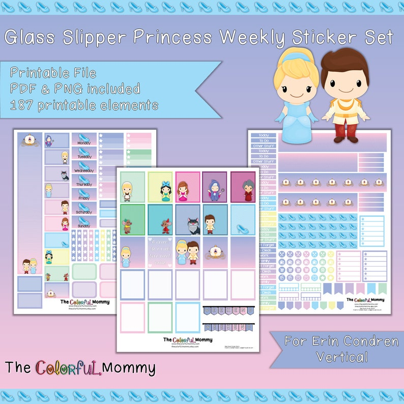 2e9aedfc83295 Glass Slipper Princess Weekly Planner Sticker Kit | for use with Erin  Condren Vertical Planner | Princess | Fairy tales | Prince | PDF