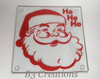 RTS, Santa Glass Cutting Board, Small Square Cutting Board, Christmas, Kitchen Decor, Cheese Tray, Snack Tray, Serving Tray