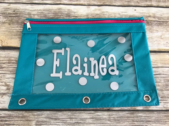Personalized Pencil Pouch 3 Ring Pencil Case School Etsy