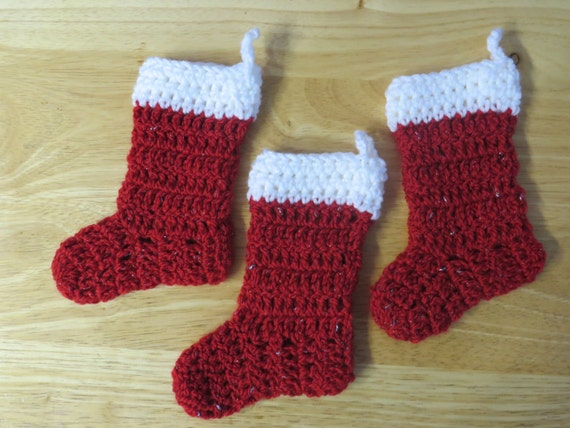 Set Of 3 Handmade Crochet Christmas Mini Stockings Christmas Etsy