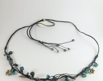 Flowers and leafs sterling silver with turquoise woven leather material adjustable length