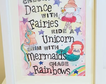 Sparkly fairy mermaid unicorn and rainbow print personalised