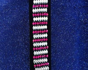 Silver, Pink, & Black Egyptian Princess Bracelet