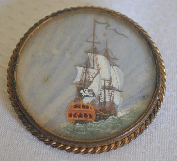 Vintage Brooch Marjan Paris Hand Painted Pirate Sh