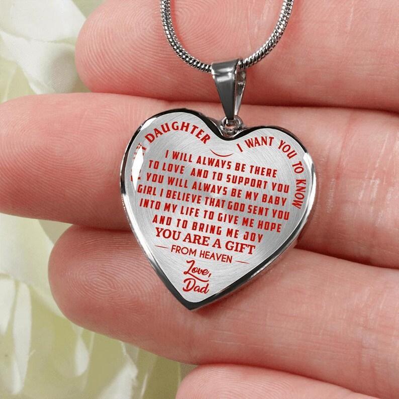 Do Mojej Córki Chcę Aby Wiedzieć Miłość Tata Czerwony Na Przezroczyste Srebro Lub Złoto Gotowy Naszyjnik Serce Lub Bransoletka