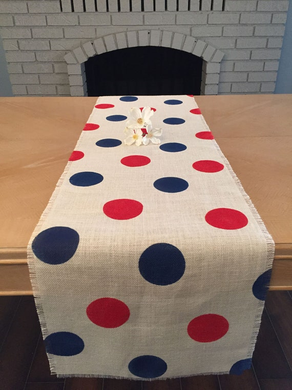 12 Wide Fourth Of July Burlap Table Runner Red And Navy