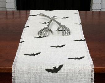 Halloween Burlap Table Runner, Halloween Black Bats Runner, Halloween Runner, Halloween Decor, Halloween Party