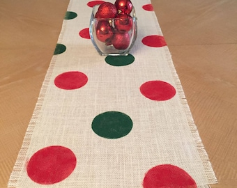 """12"""" Wide Christmas Burlap Table Runner, Red and Green Burlap Table Runner, Christmas Burlap Runner, Christmas Table Runner, Christmas Decor"""