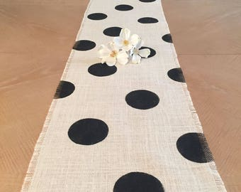 12x120 Polka Dot Table Runner with Black Circles, Burlap Table Runner, Modern Chic Table Runner, Modern Rustic Table Runner, Home Décor