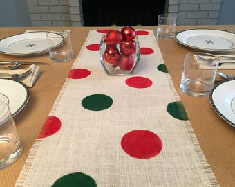 """14"""" Wide Christmas Burlap Table Runner, Red and Green Burlap Table Runner, Christmas Burlap Runner, Christmas Table Runner, Christmas Decor"""