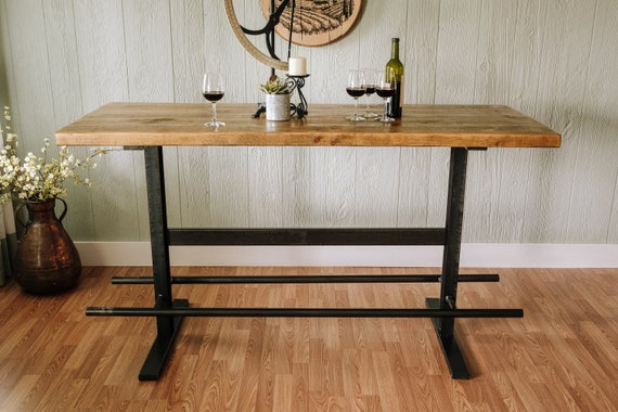 Industrial Iron And Reclaimed Wood Pub Table | Etsy