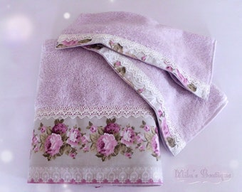 Turkish towel set, lace embroidery, 100% cotton, wedding gift idea bridal shower victorian lilac purple white floral hand towel washcloth